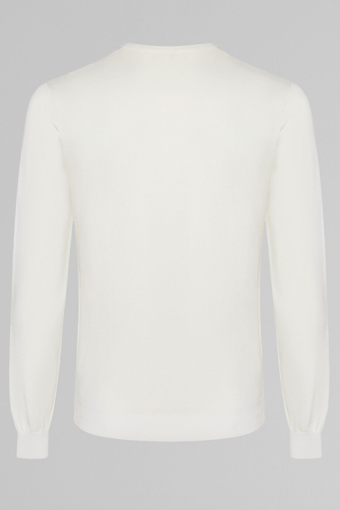 PIMA COTTON ROUND NECK JUMPER, CREAM, hi-res