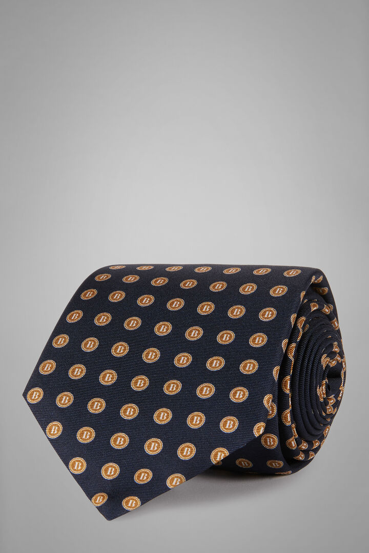 Cravatta Fantasia Logo In Seta Stampata, Blu - Giallo, hi-res