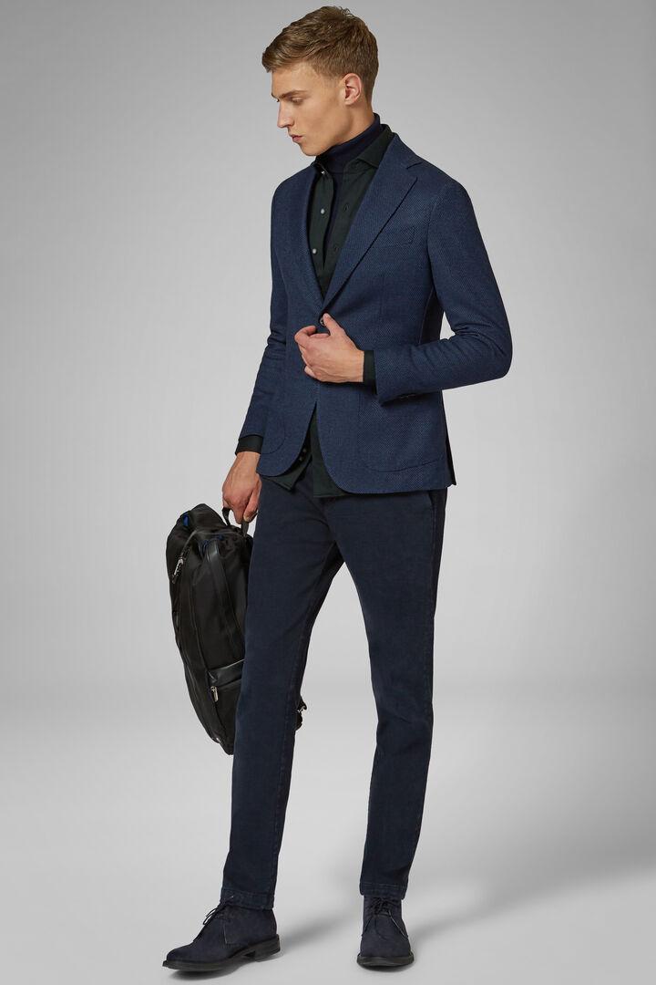 Blue Wool/Cotton Capri Blazer, Blue, hi-res