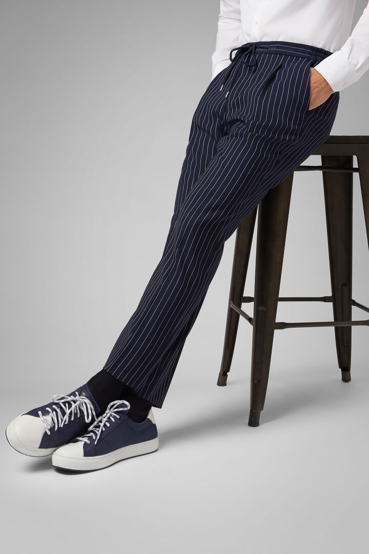 Pinstripe Travel Wool Trousers With Drawstring, Blue, hi-res