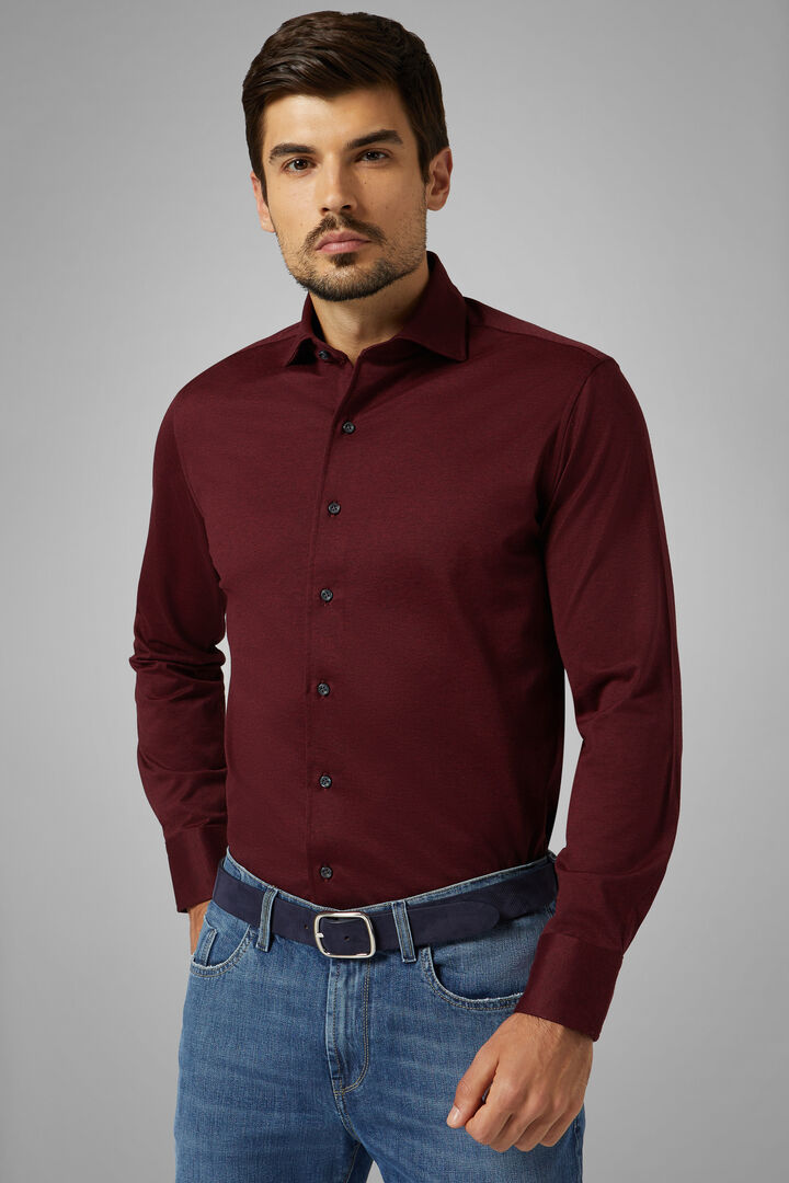 Slim Fit Burgundy Casual Shirt With Closed Collar, Burgundy, hi-res