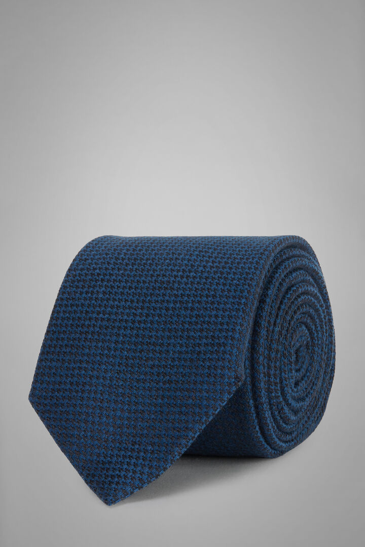 Cravate Micro Motifs En Laine, Bleu, hi-res