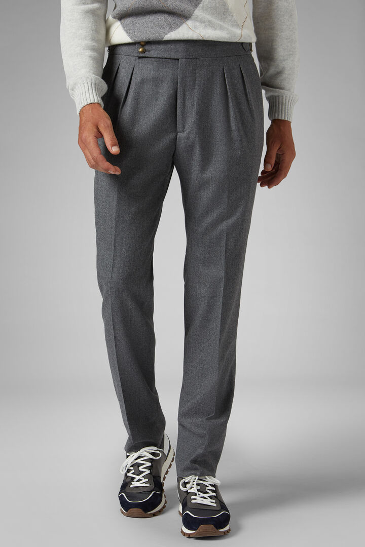 Slim Fit Wool Flannel Trousers With Adjusters, Medium grey, hi-res