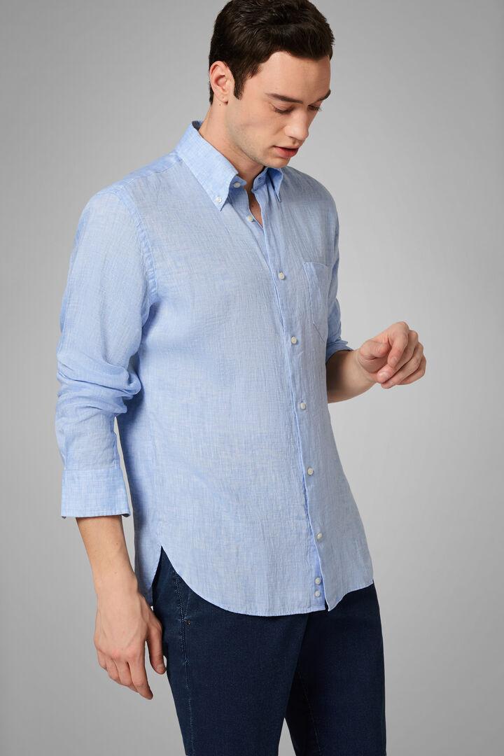 Camisa Regular Fit Celeste Con Cuello Button Down, Azul claro, hi-res