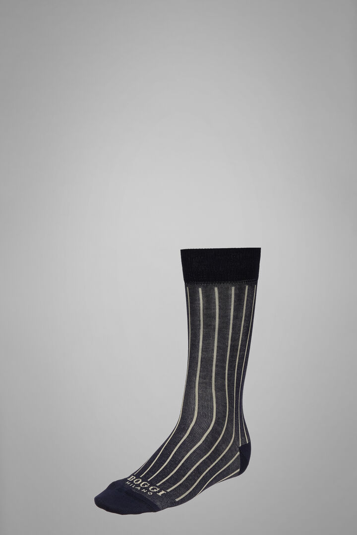 Short Socks With Contrasting Cuff, Navy - Leather brown, hi-res