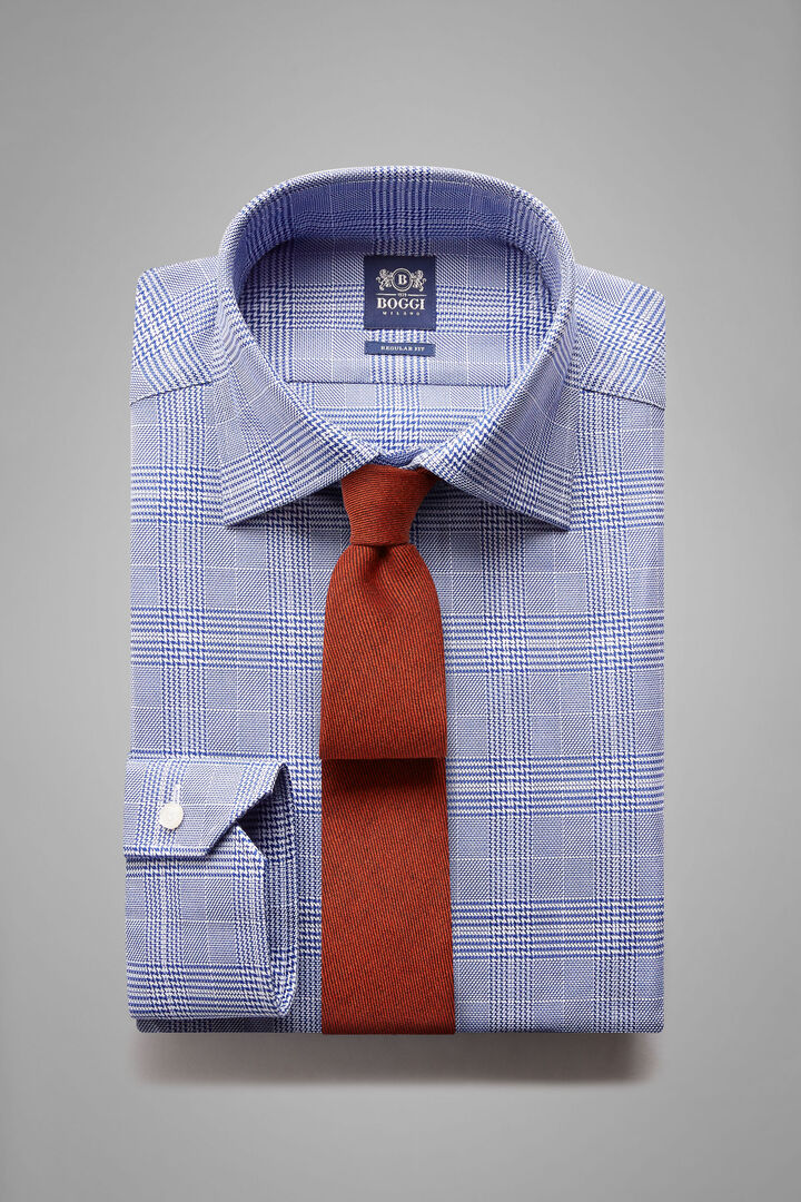 Regular Fit Blue Prince Of Wales Check Shirt With London Collar, Blue, hi-res