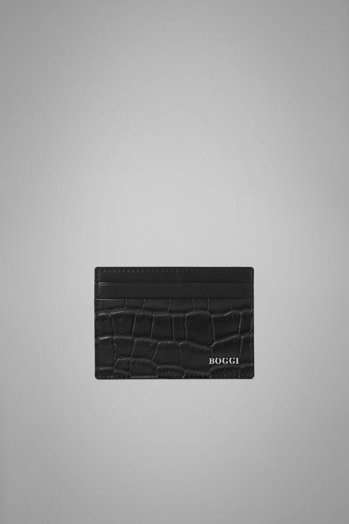 Faux Croc Print Leather Credit Card Holder, Black, hi-res