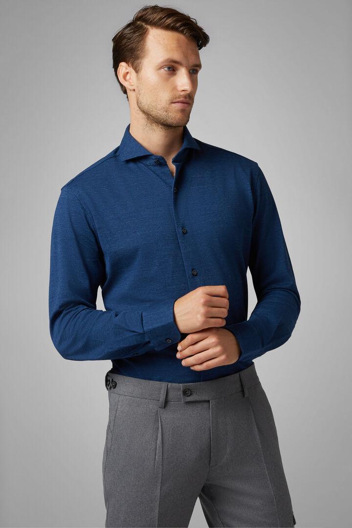 Chemise Polo Bleue À Col Ouvert Coupe Droite, Bluette, hi-res