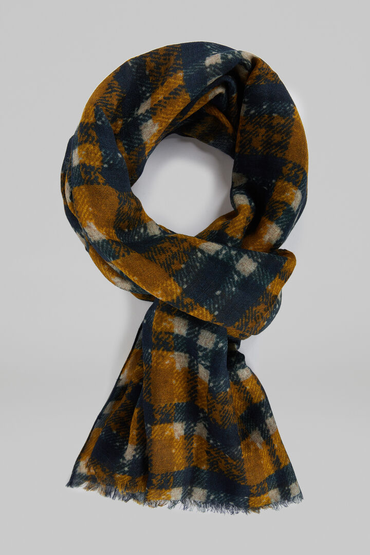 Checked Wool Scarf, Mustard, hi-res