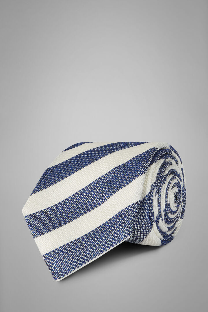 Regimental Silk Jacquard Tie, Blue - White, hi-res
