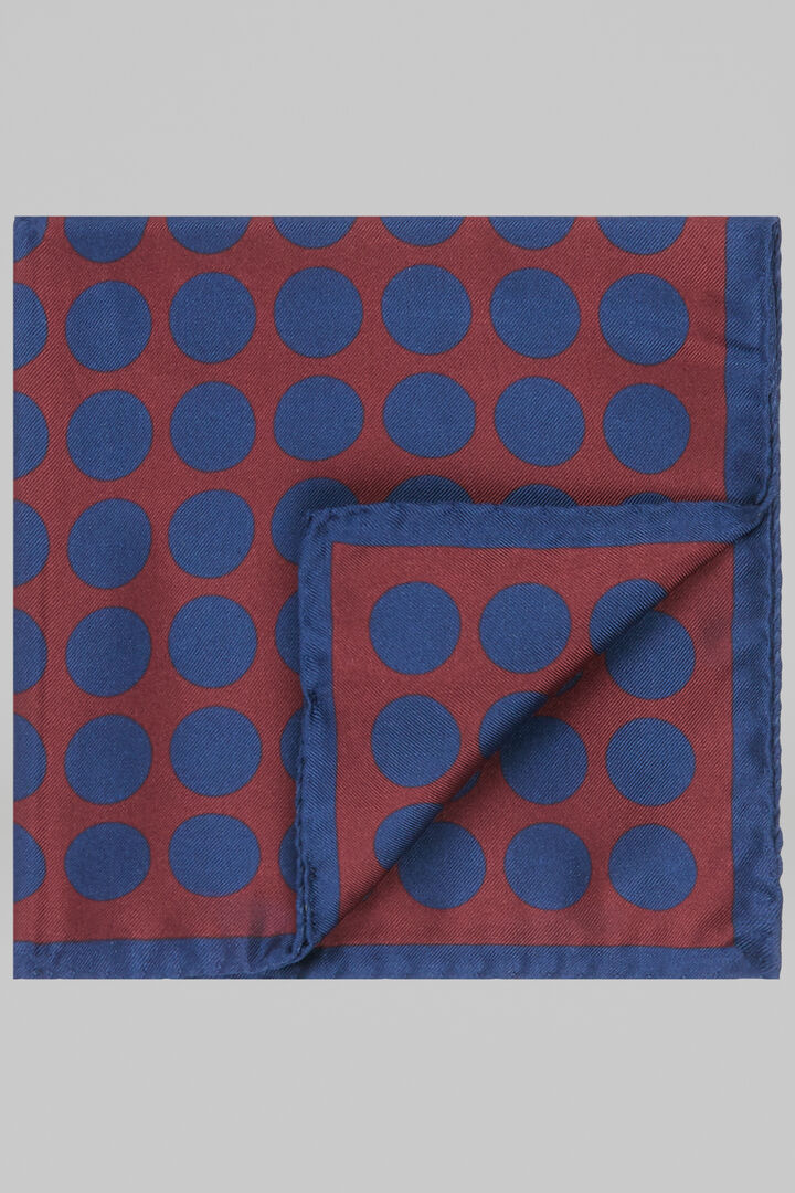 Macro Polka Dot Printed Silk Pocket Square, Burgundy - Blue, hi-res
