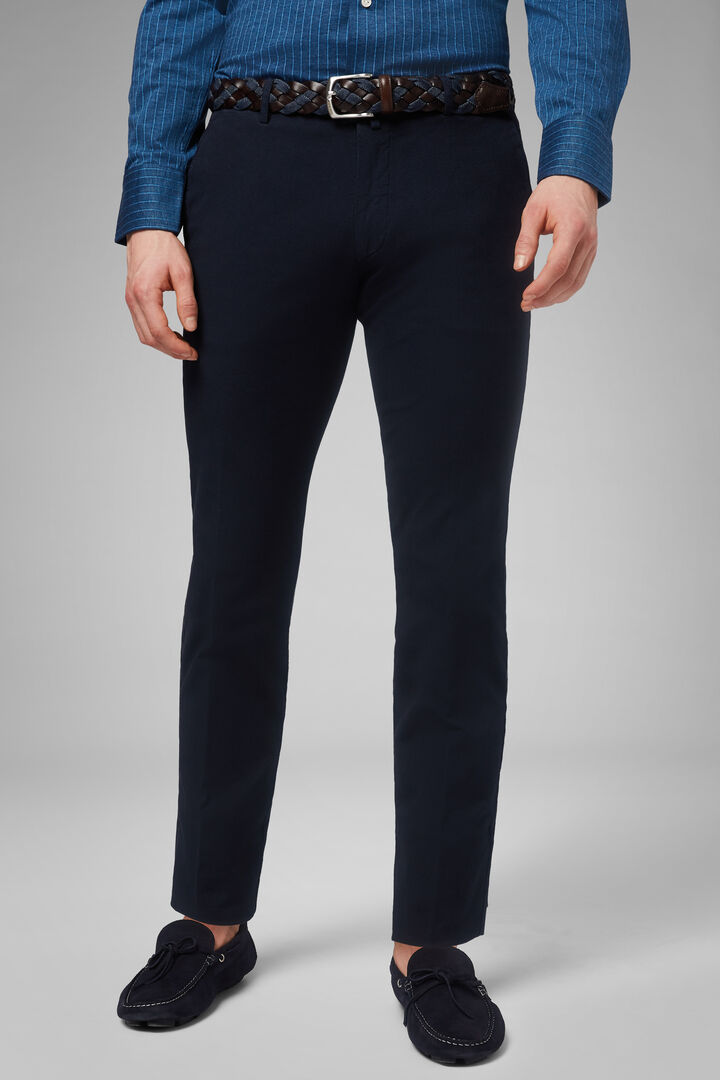 Slim Fit Stretch Microstructure Cotton Trousers, Navy blue, hi-res