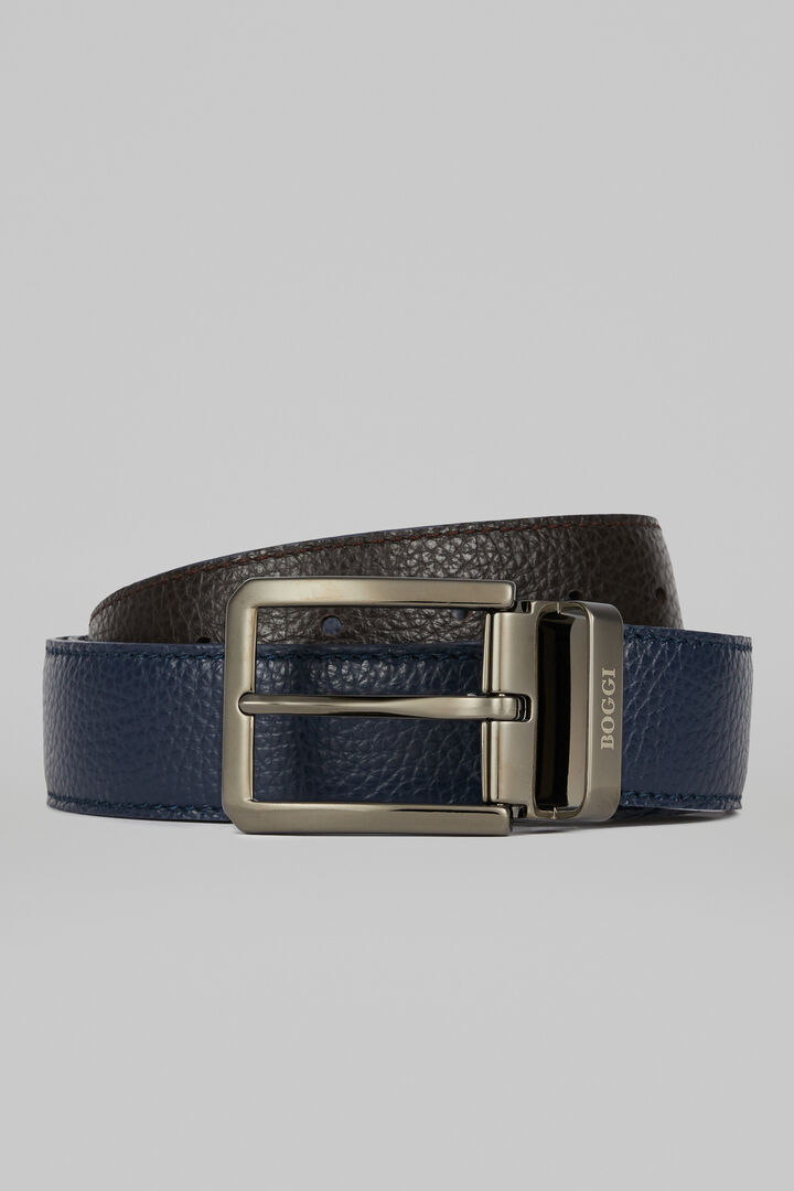 Reversible Tumbled Calfskin Belt, Navy blue, hi-res