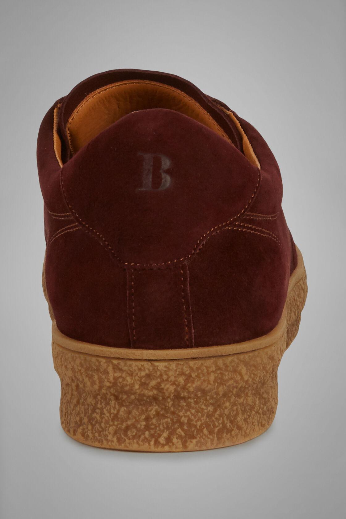 Sneakers In Pelle Scamosciata Fondo Lavorato, Bordeaux, hi-res