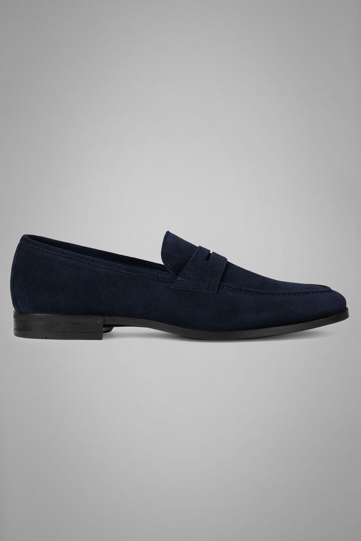 Suede Loafers, Navy blue, hi-res