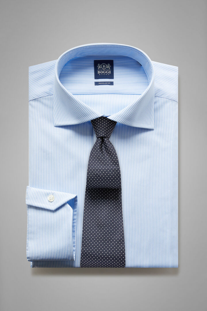 Regular Fit Sky Blue Striped Shirt With Windsor Collar, Light blue, hi-res