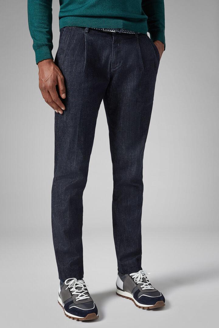 Dark Wash Double Pleat Denim Jeans, Denim, hi-res