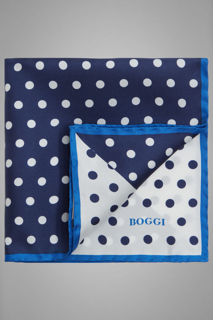 Polka Dot Print Silk Pocket Square, Blue - White, hi-res