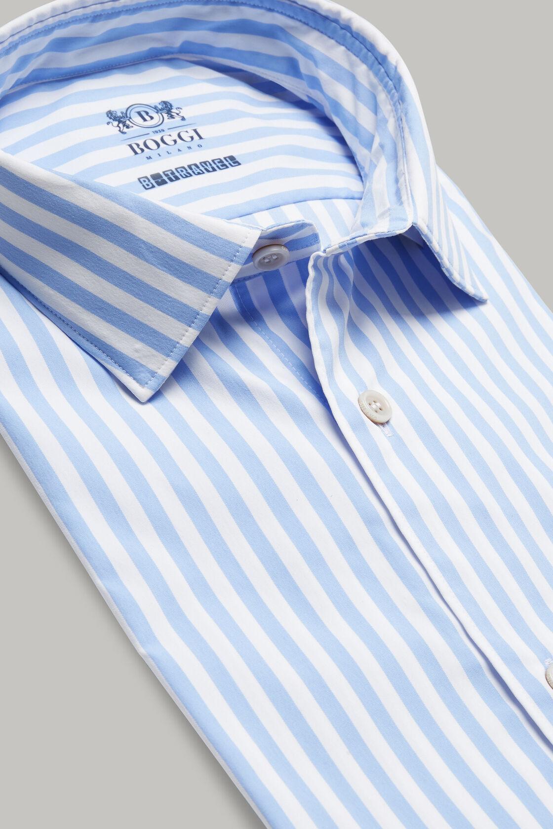 Tokyo- kragen hemd mit azurblauen streifen aus nylon slim fit, , hi-res