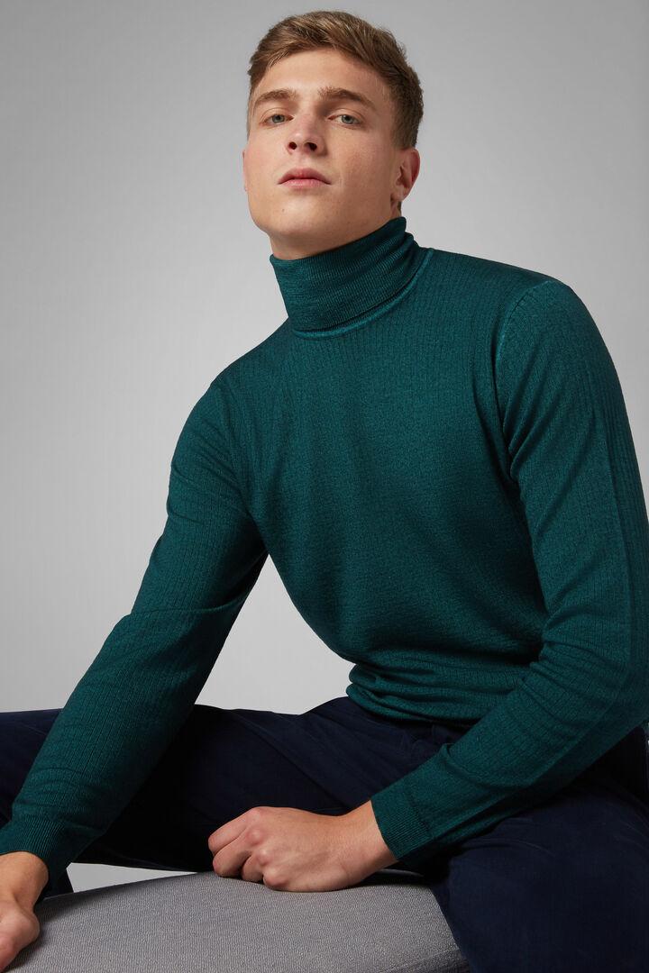 Stonewashed Merino Wool Polo Neck Jumper, Green, hi-res