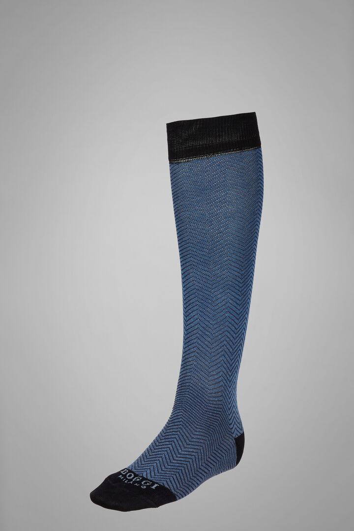 Long Socks With Micro Herringbone Motif, Black - Grey, hi-res