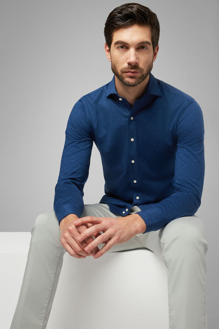 Slim Fit Blue Casual Shirt With Closed Collar, Blue, hi-res