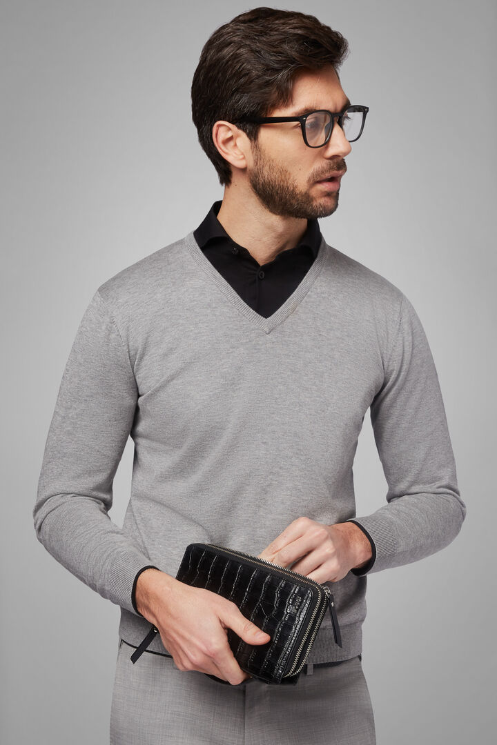 Pima Cotton V-Neck Jumper, Grey, hi-res