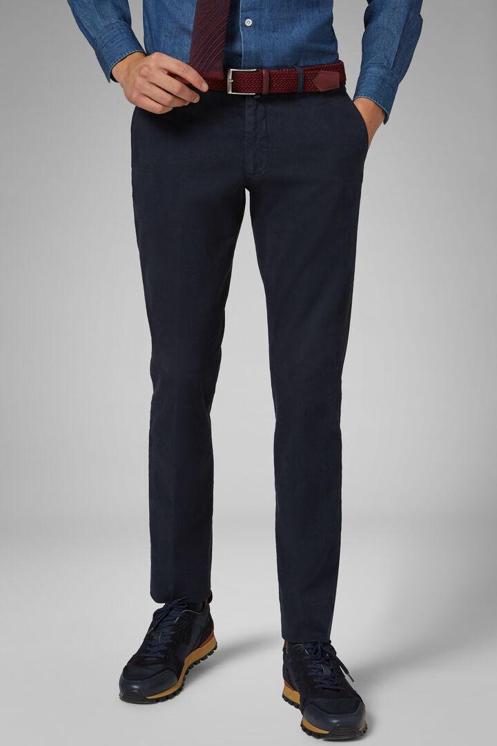 Pantalon En Satin De Coton Stretch Coupe Ajustée, Bleu, hi-res