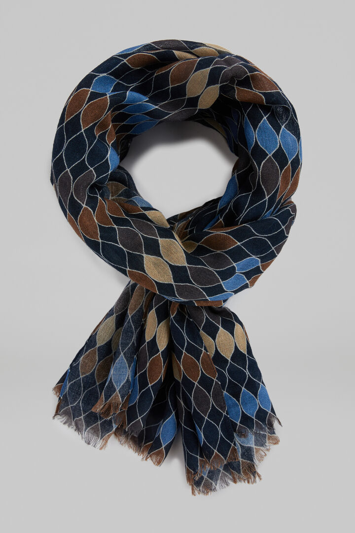 Écharpe En Laine Imprimé Géométrique, Bleu, hi-res