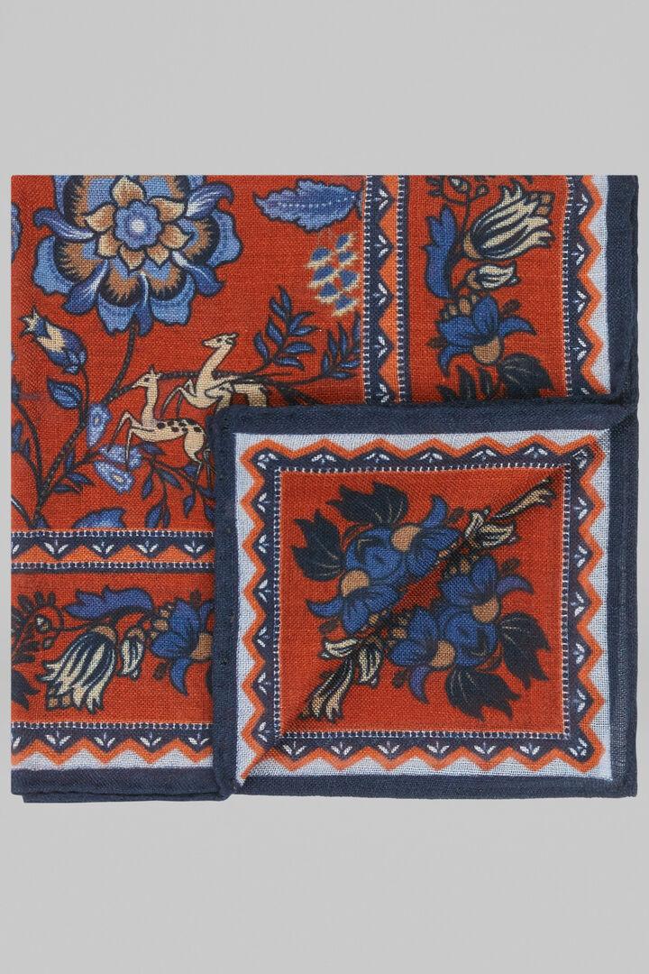 Patterned Wool/Silk Pocket Square, Orange, hi-res