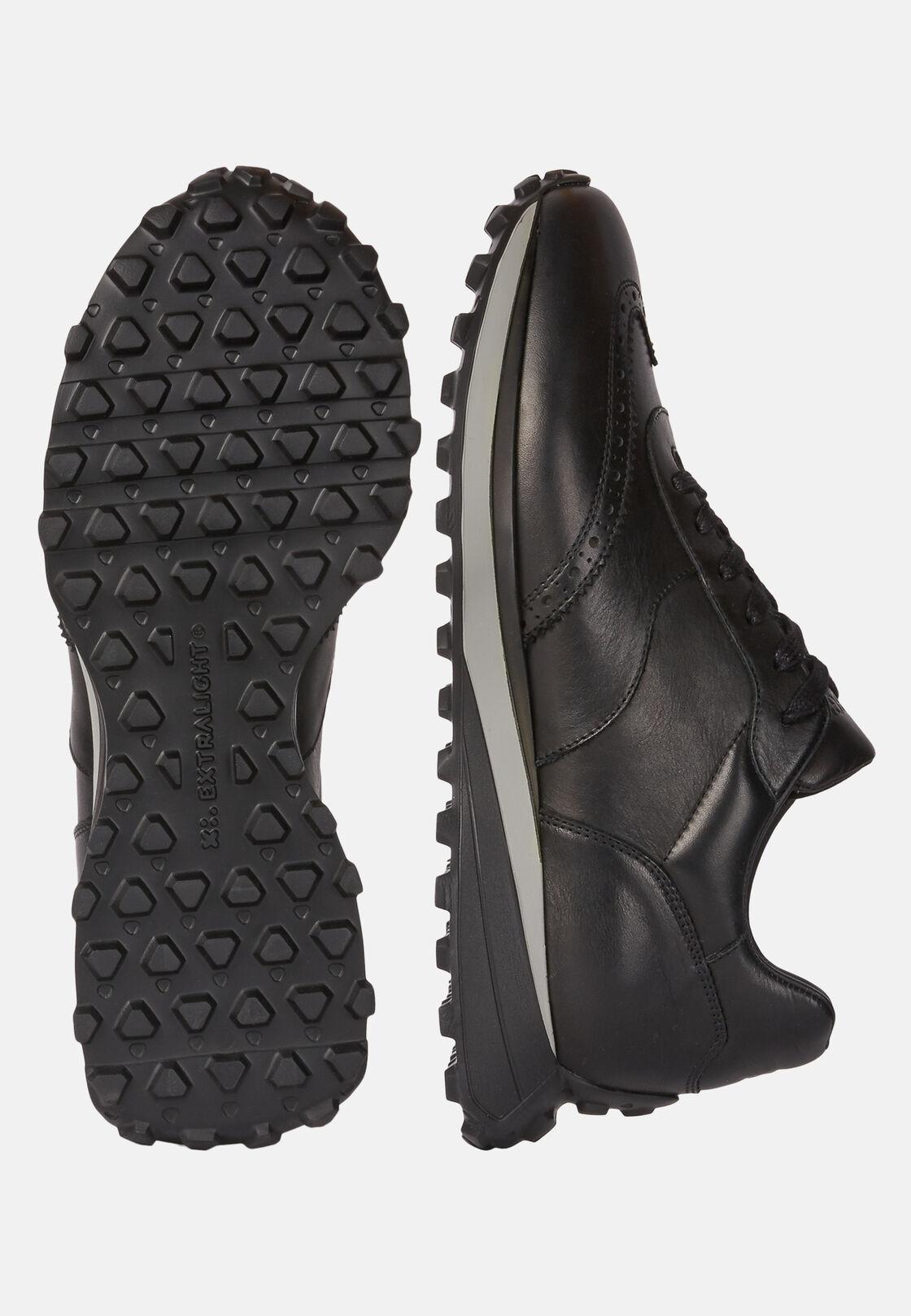 Sneakers nere in pelle, Nero, hi-res