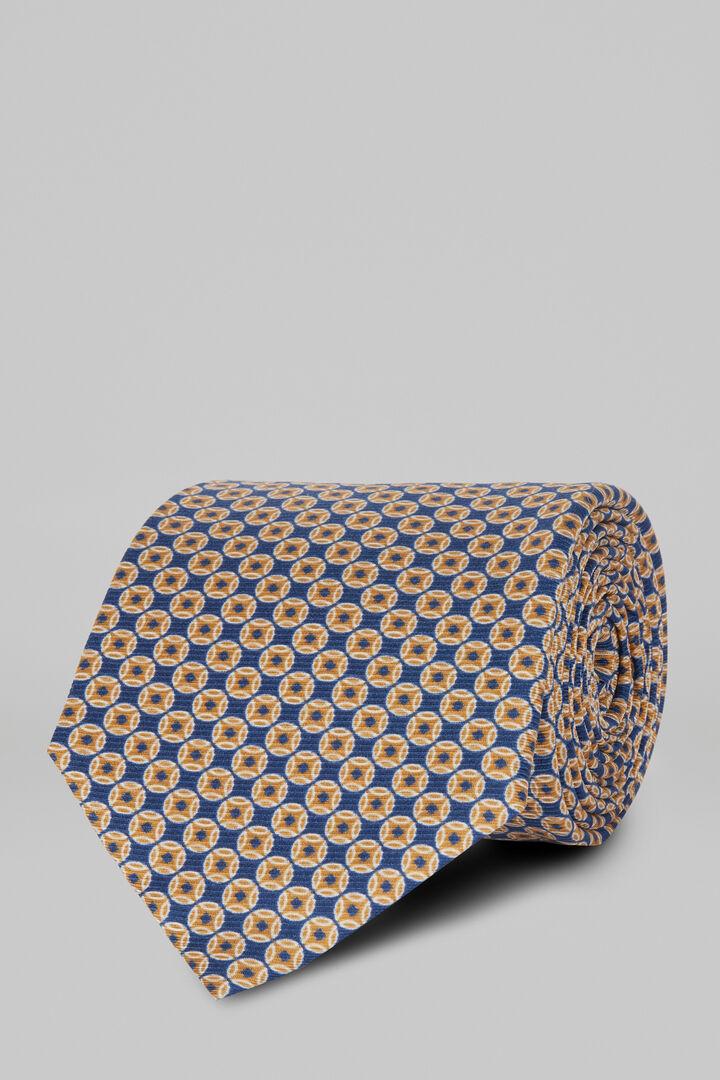 Cravate Fantaisie En Soie Imprimée, Bleu - Orange, hi-res
