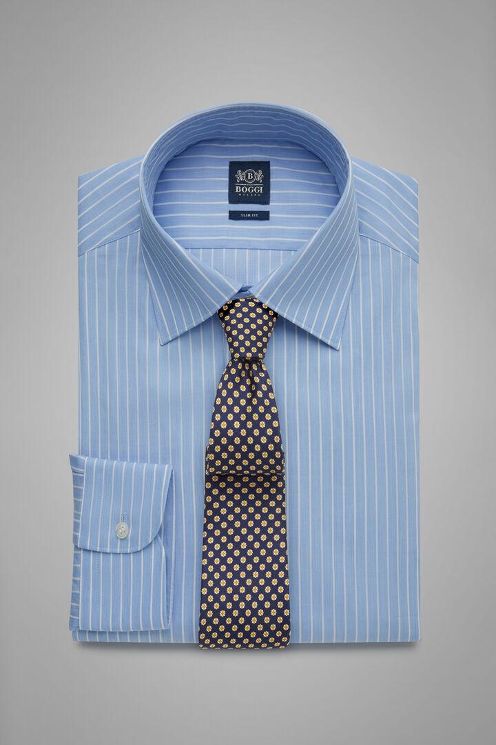 Camicia A Righe Azzurre Collo New York Slim Fit, Azzurro, hi-res