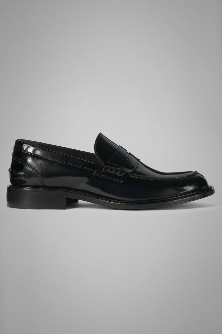 Brushed Leather Loafers, Navy blue, hi-res