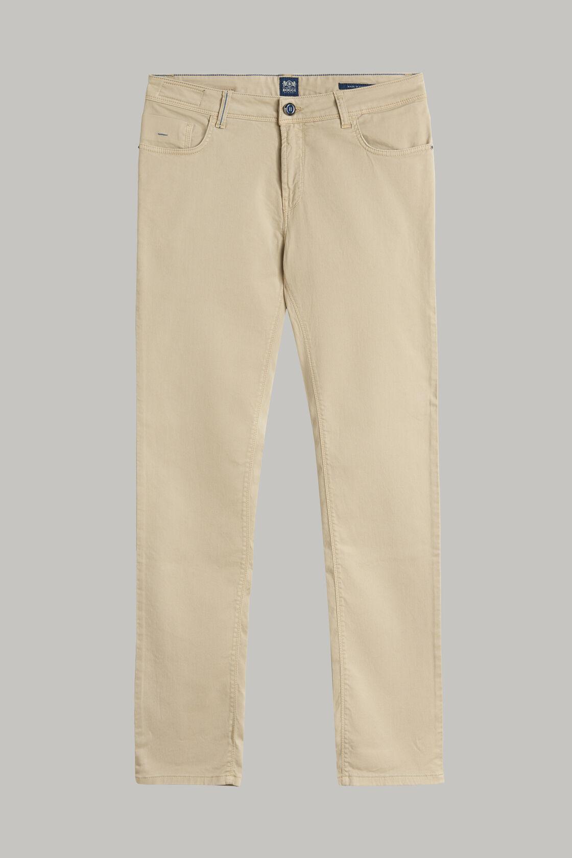 Jeans in cotone tencel elasticizzato beige, , hi-res