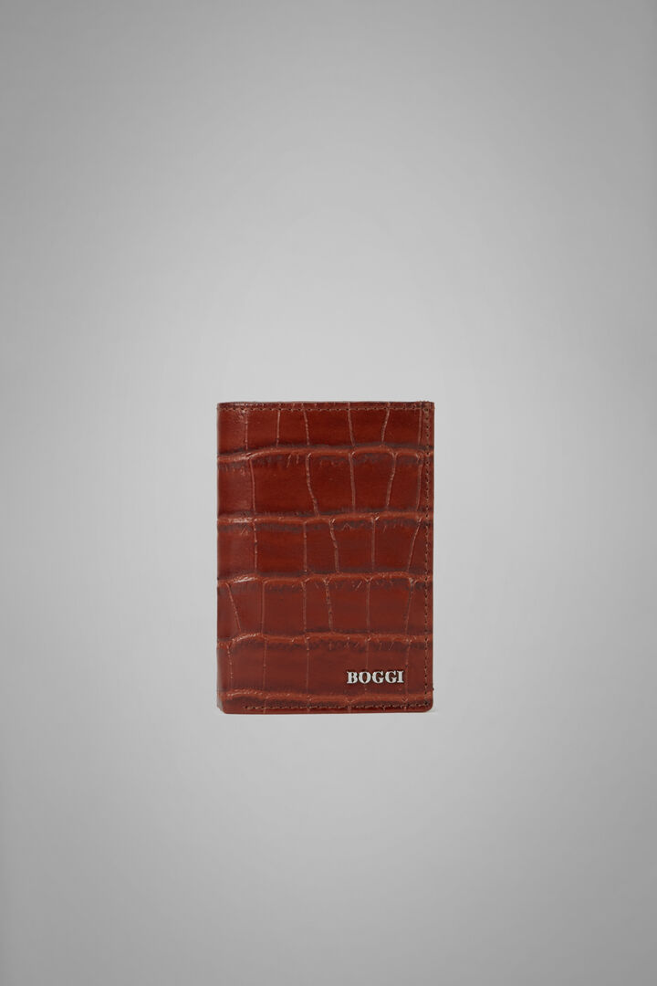 Faux Croc Foldover Card Holder, Burnt, hi-res