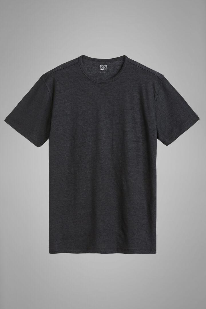 Black Stretch Linen Jersey T-Shirt, Black, hi-res