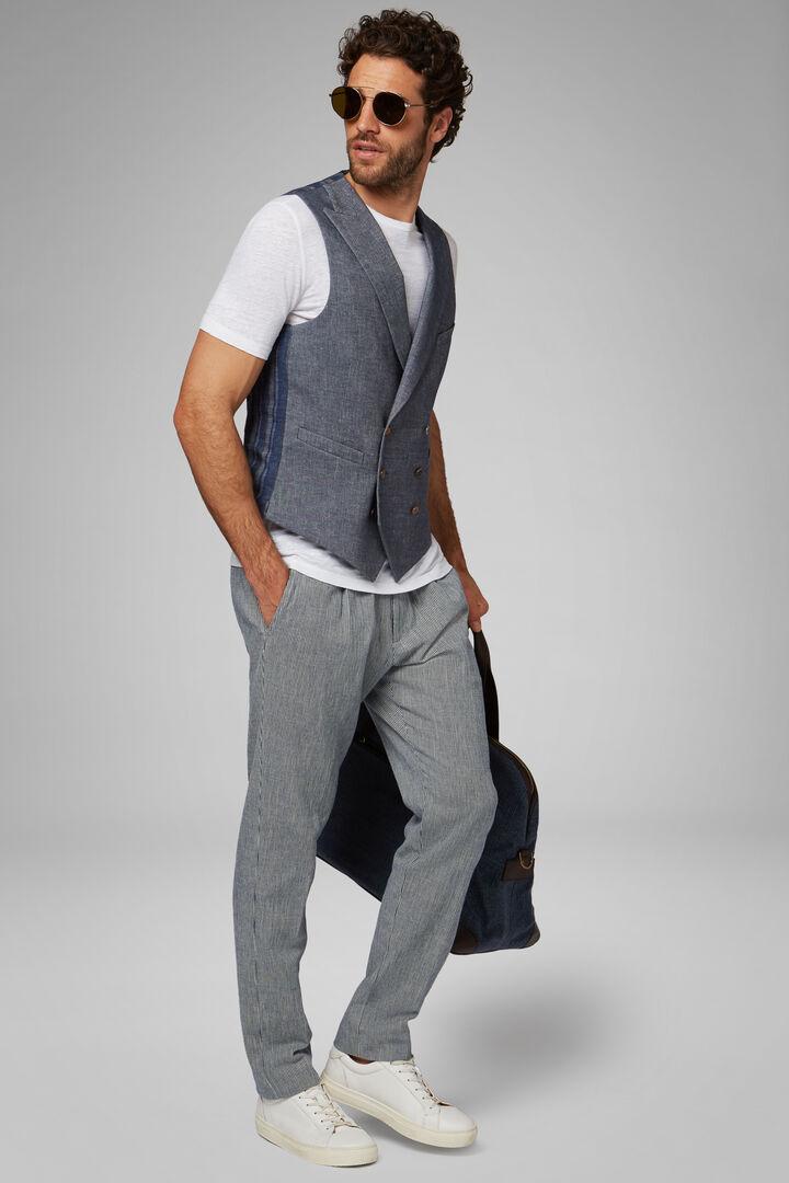 Denim Cotton Double-Breasted Waistcoat, Denim, hi-res