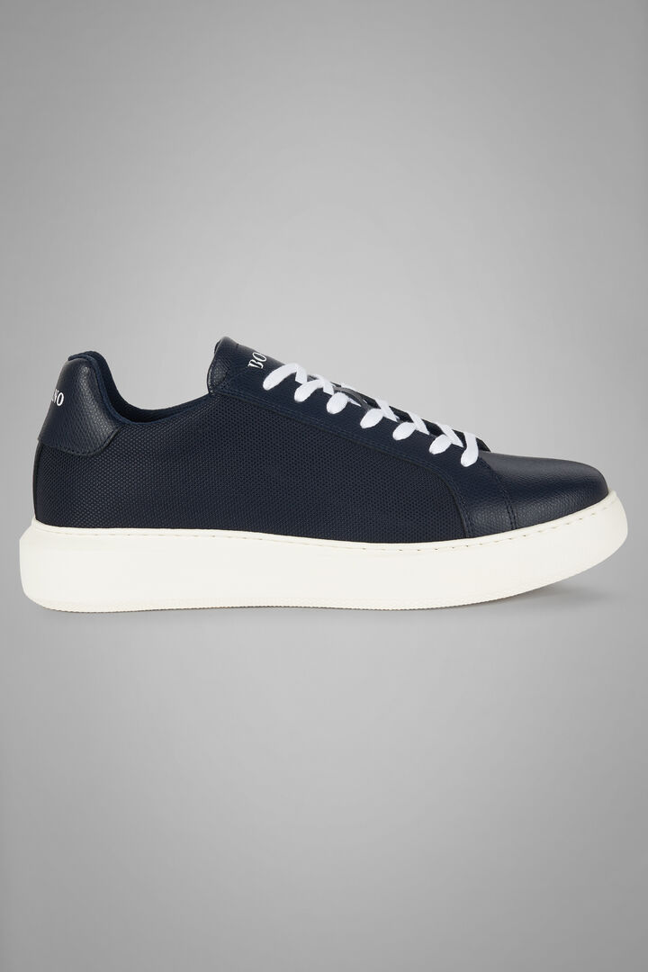 Extra Light Leather And Nylon Trainers, Navy blue, hi-res