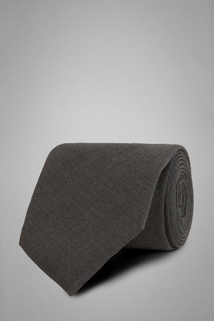 Plain Technical Wool Tie, Grey, hi-res