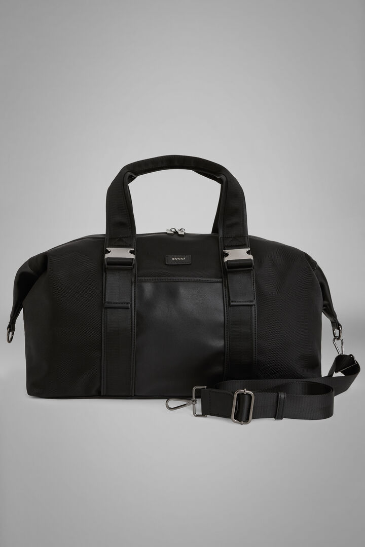 Nylon And Faux Leather Holdall, Black, hi-res