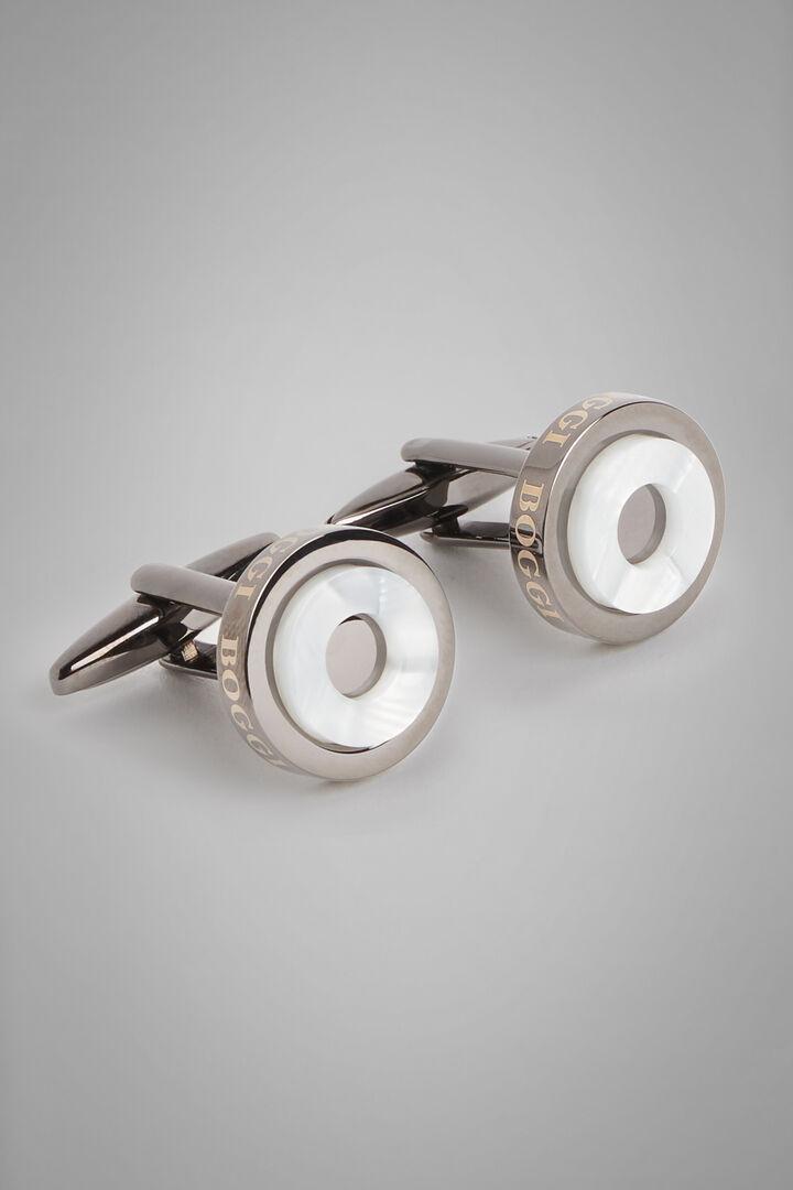 Gemelos Circulares De Metal Con Contraste, Plateado oscuro, hi-res