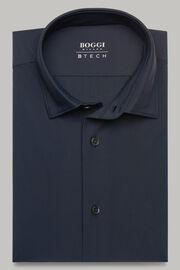 Navyblaues hemd mit tokyo- kragen aus elastischem nylon slim fit, Navy blau, hi-res