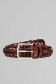 WOVEN LEATHER BELT, LEATHER BROWN, hi-res
