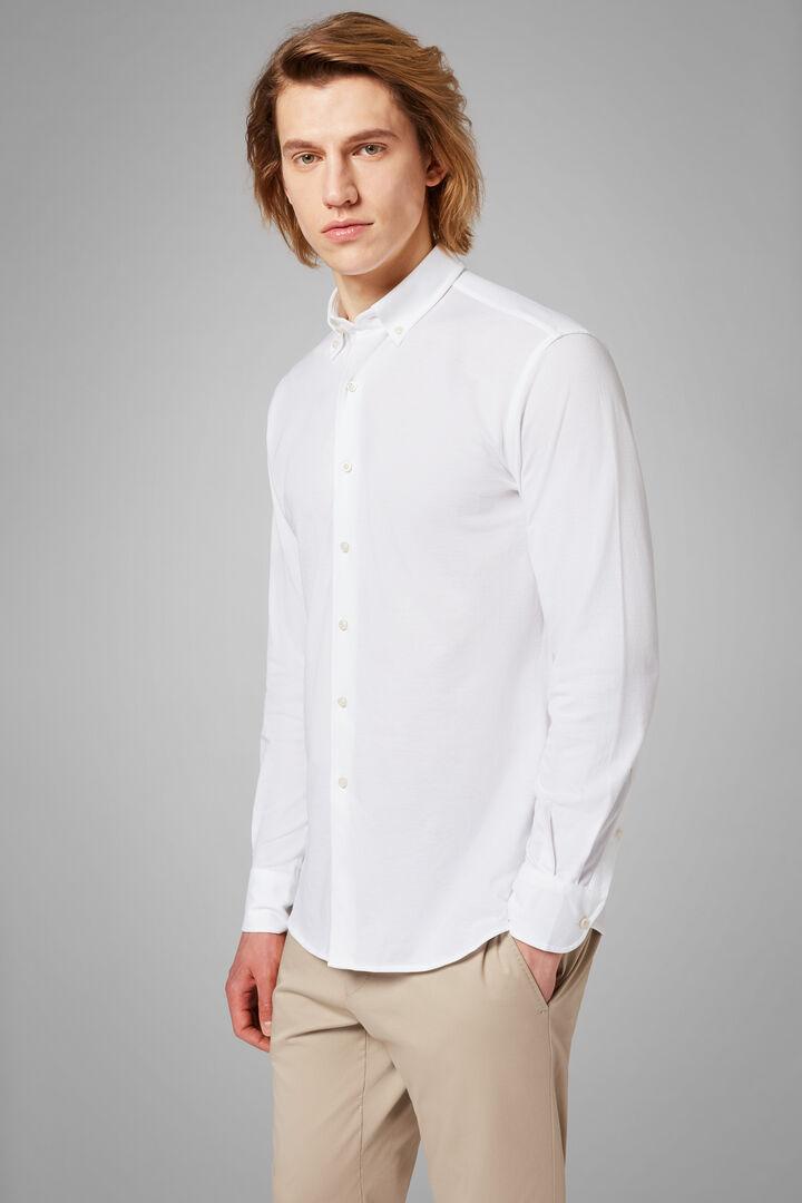 Chemise Polo Blanche À Col Boutonné Coupe Droite, blanc, hi-res