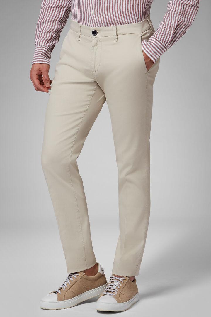Pantalone Stretch In Cotone Tencel Effetto Lavato, Beige, hi-res