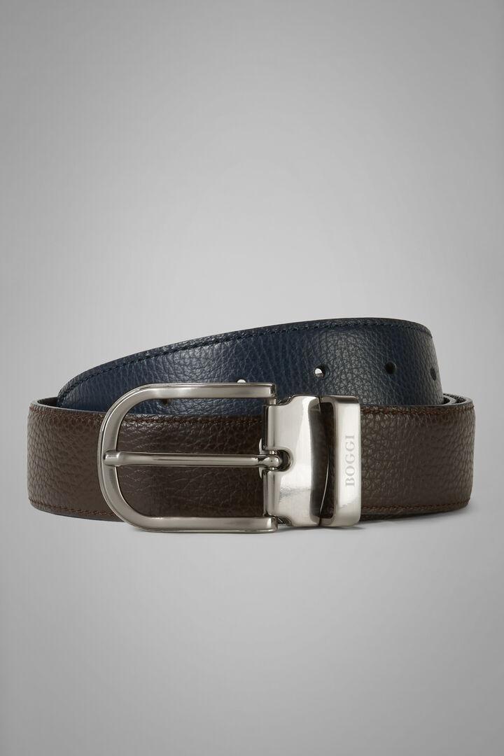 Reversible Tumbled Leather Belt, Navy - Dark Brown, hi-res