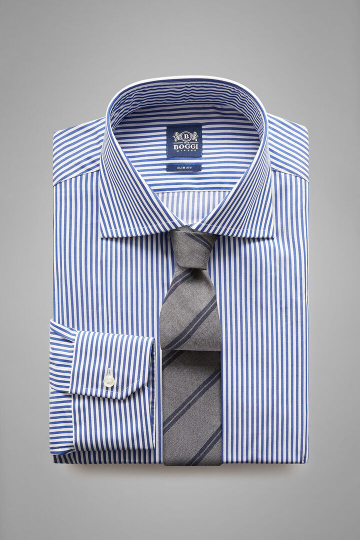 Camicia A Righe Blu Collo Windsor Slim Fit, Bianco - Blu, hi-res