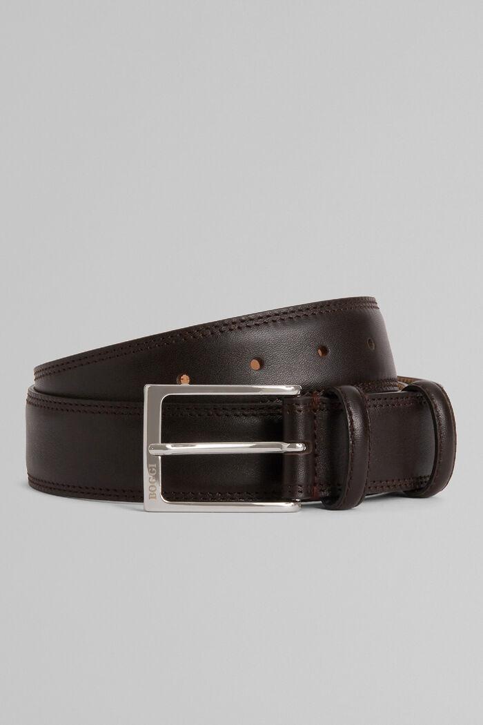 Cintura In Pelle Con Grana E Doppia Impuntura, , hi-res