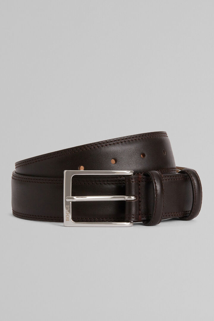 Grain Leather Belt With Double Topstitching, Dark brown, hi-res